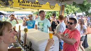 At the Lawson's tent at Vermont Brewers Festival 2018