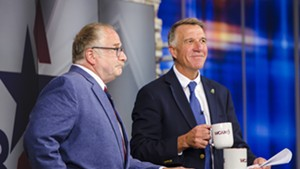 Gov. Phil Scott (right) and Republican challenger Keith Stern