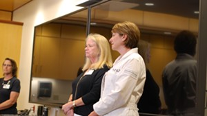 The hospital's chief operating officer Eileen Whalen (center) and Dr. Isabelle Desjardins