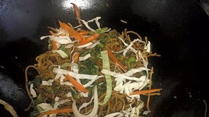 Vegetable chow mein at Friend's Nepali Restaurant