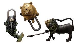 Intricate brass padlocks from around the world