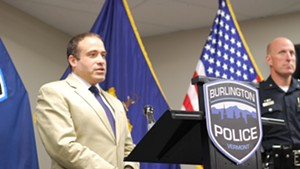 Burlington Police Chief Brandon del Pozo at a press conference