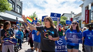 Christine Hallquist at the Pride Parade in Burlington Saturday