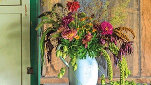 A flower arrangement by Diana Doll of Stray Cat Flower Farm in Burlington