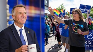 Gov. Phil Scott (left) and Christine Hallquist