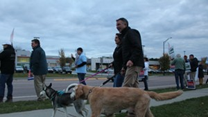Phil Scott arrives in South Burlington with wife Diana and their dogs, Denali and Tucker.