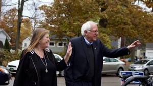 Jane O'Meara Sanders and Sen. Bernie Sanders arrive at the Robert Miller Community & Recreation Center to vote Tuesday morning.