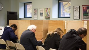 Sen. Bernie Sanders votes Tuesday in Burlington