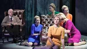 Isabel Leonard as Marnie (in yellow) with other cast members of 'Marnie'