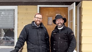 Rabbi David Fainsilber (left) and Rev. Rick Swanson at the Yellow House
