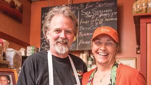 John Hamilton and Carolyn Costello at Costello's Market.