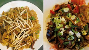 Beef flat noodles and Momo Chili at Maya's Kitchen & Bar
