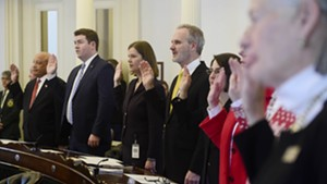Franklin County Republican Senators Randy Brock and Corey Parent (left) taking the oath of office in January.