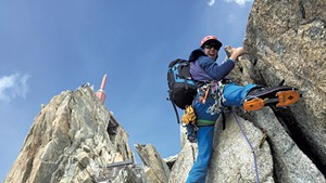 Steve Charest climbing in Chamonix, France, in 2015