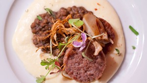 Cotechine, lentils and polenta