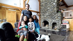 Miguel Turner with his wife, Milagro; their children (from left) Allen, Sebastian and Sofia; and their dog, Max