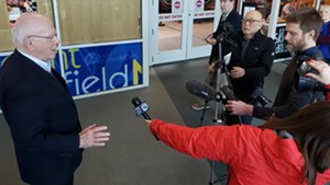 U.S. Sen. Patrick Leahy (D-Vt.) speaks to the media at Burlington International Airport Sunday.