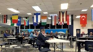 Jane Knodell speaking at the April 2 Burlington school board meeting