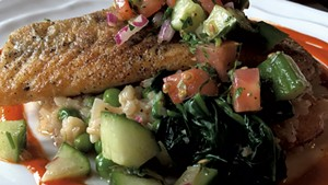 Pan-seared sea bass at Sage Restaurant