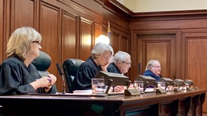 Vermont Supreme Court justices during oral arguments Wednesday