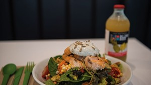 Salmon salad and a pineapple ginger Bliss Bee soda