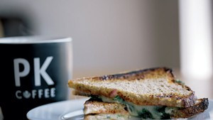 Coffee and sandwich at PK Coffee