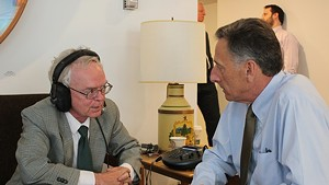Mark Johnson interviews Gov. Peter Shumlin at the Statehouse in May.