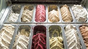 The gelato case at La Villa Bistro