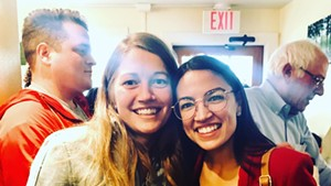 Molly Gray and U.S. Rep. Alexandria Ocasio-Cortez on Saturday morning at Penny Cluse Café in Burlington