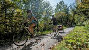 Bikers on the Lamoille Valley Rail Trail