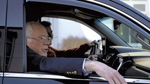 Sen. Bernie Sanders leaving Burlington International Airport Saturday