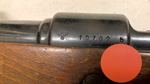The Nazi Reichsadler emblem on a state-owned rifle