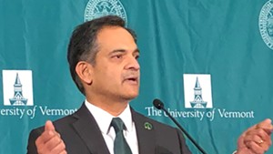 UVM president Suresh Garimella speaking Thursday