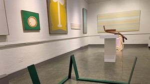"""Color Fields"" installation view, with ""Green Sleeper"" by Anthony Caro in foreground"
