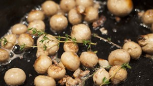 Pear-shaped puffballs with butter and thyme