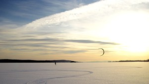 Snowkiters Catch Big Air on Frozen Lakes