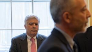Secretary of Human Services Mike Smith watching Brattleboro Retreat president and CEOLouis Josephson testify