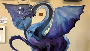"""Draco"" mural at Miller's Run School in Sheffield"
