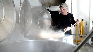 Joe Buley making soup at Joe's Kitchen in Montpelier