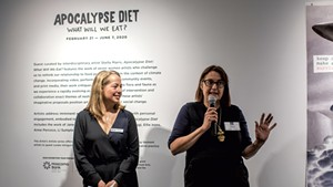 BCA Center curator and director of exhibitions Heather Ferrell (left) and guest curator Stella Marrs