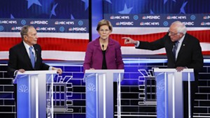 Former mayor Michael Bloomberg, Sen. Elizabeth Warren and Sen. Bernie Sanders debating last month in Las Vegas