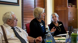 Rep. Sandy Haas, right, looks on as Rep. Ann Pugh discusses the bill in January