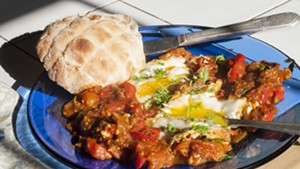 Shakshuka: eggs and peppers and tomatoes and YUM