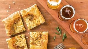 Crop Bistro & Brewery's Helles Brook Lager onion tart