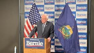 Sanders speaking to reporters Thursday in Burlington