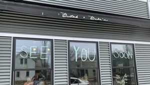 A hopeful message from Butch + Babe's in Burlington on March 19