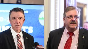 Gov. Phil Scott (left) and Secretary of State Jim Condos