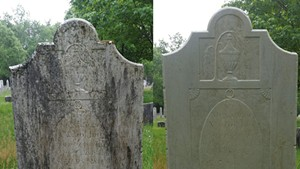 A cleaned headstone dating back to 1800