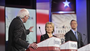 Bernie Sanders, Hillary Clinton and Martin O'Malley at last month's Democratic presidential debate in Iowa