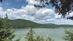 Looking west from Mount Independence  to Fort Ticonderoga and Mount Defiance